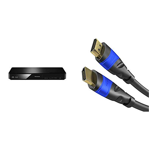 Panasonic DMP-BDT184EG 3D Blu-ray Player (4K Upscaling, DLNA, VoD, HDMI-Steuerung, USB, MKV-Playback) schwarz & KabelDirekt - 4K HDMI Kabel - 1,5m - kompatibel mit  - TOP Series
