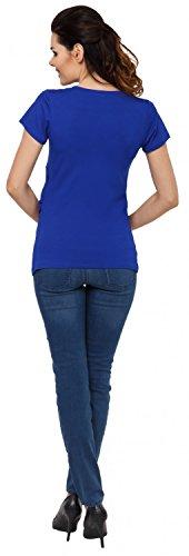 Zeta Ville - Damen Zweilagiges Still T-Shirt Top für Schwangere Kurzarm - 790c Königsblau