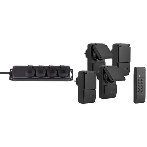 Brennenstuhl Steckdosenverteiler IP44 4-fach, schwarz + mumbi 4er Set Outdoor Funksteckdosen - 4 x Funksteckdose für Aussen + 1 x Fernbedienung - Plug & Play - 1100 Watt