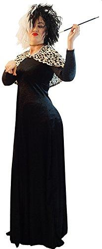 CL COSTUMES Halloween-Panto-Märchen-unheimlich-101 Dalmatiner-Cruella Deluxe GRAUSAM Dalmatiner Dame Kostüm - Von Größen 10-42 - Wie abgebildet, Ladies: 12