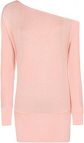New Ladies Off Shoulder Batwing Long Sleeved Womens Top - Pink - 12 / 14