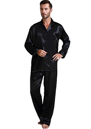 Herren Seide Schlafanzug Pyjama Schwarz XX-Large (Schlafanzug Seide)