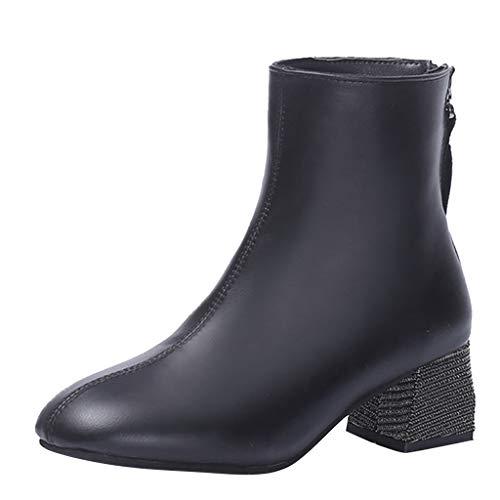 Zolimx Botas Mujer Invierno, Botines con Plataforma A Prueba de Agua Mujeres con Cordones Botas Cortas Gruesas Zapatos Ocio Botines Encaje hasta El Tobillo Zapatos Damas
