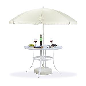Relaxdays Gartentisch Glas rund STRUK mit Sonnenschirmloch, 102 cm Bistrotisch Balkon Garten, 4 Sitzer wetterfest, weiß von Relaxdays bei Gartenmöbel von Du und Dein Garten
