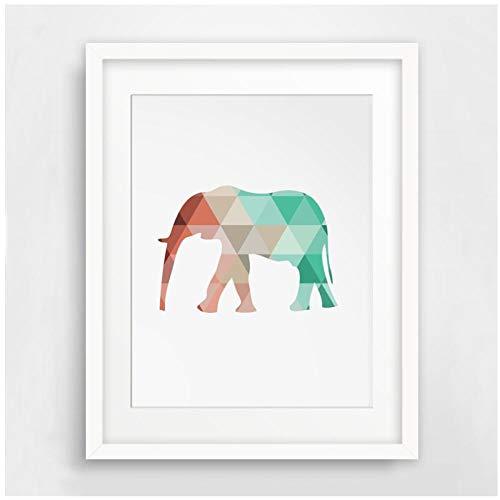 Ywsen Menta y Estampado de Elefantes de Coral Lona geométrica con pósters...