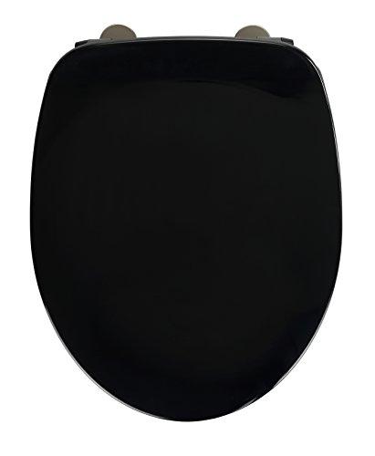 Schwarze Sitz (WENKO 23212100 WC-Sitz Armonia, Toiletten-Sitz mit Absenkautomatik, rostfreie Fix-Clip Hygiene Edelstahlbefestigung, 36,5 x 44,5 cm, schwarz)