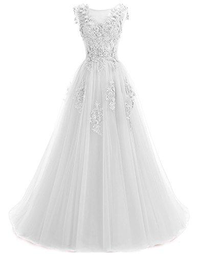Annxrose Damen Lange sehen durch Rundhals Perlenstickerei Strasssteine Appliques Tüll A-Linie Formelles Kleid Abendkleid Weiß 44