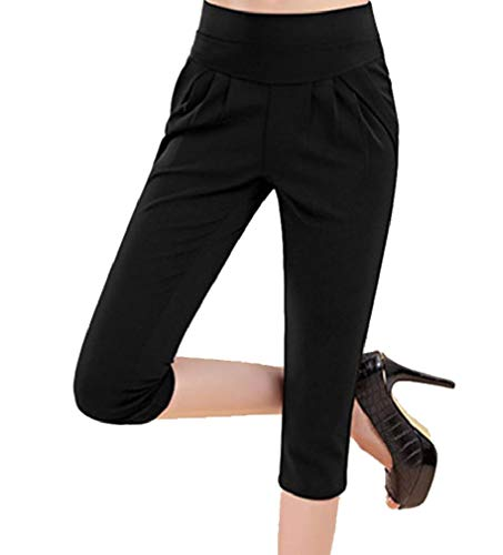 CuteRose Women Solid Oversized Tapered Harem Pants Highwaist Casual Pants 3 L Big And Tall Cotton Belt