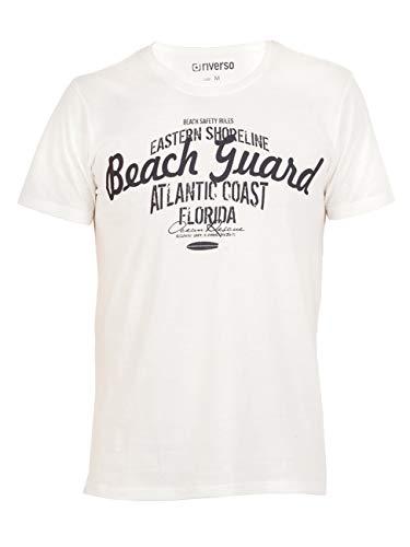 riverso Herren T-Shirt Leon Rundhals O-Neck mit Print - Regular Fit - S-5XL - 100% Baumwolle - Grün - Blau - Weiß - Grau, Größe:4XL, Farbe:Weiß (Beach Guard) -