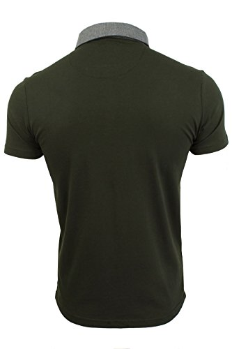 Herren Polo Shirt BRAVE SOUL Chimera Baumwolle Chambray Kragen Kurzarm T-Shirt Chimera - Khaki/Coal