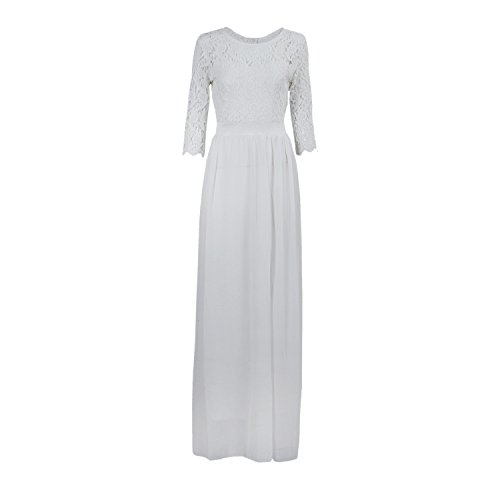 SODIAL(R) Chiffon Spitze Brautkleid Ballkleid Abendkleid Hochzeitskleid Weiss XXL