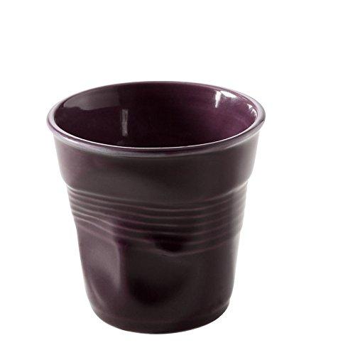 Revol RV638116 Tasse espresso froissé porcelaine, aubergine, 6.5 x 6.5 x 6 cm