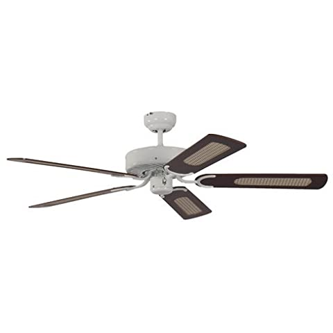 132cm Potkuri 5-Blade Ceiling Fan with Winter & Summer Switch (Number of Speeds: 3, Reversible Motor) (White, Mahogany with rattan