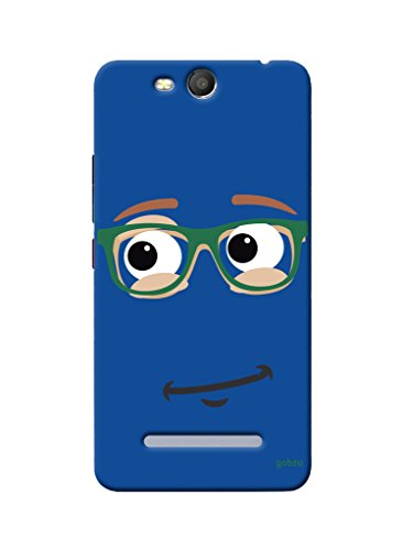 Gobzu Printed Hard Case Back Cover for Micromax Canvas Juice 3 Q392 - Blue Smiley  available at amazon for Rs.299