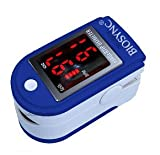 Biosync Finger Pulse Oximeter & Heart Rate Monitor w/ Instructions, Lanyard & Case - Dark Blue