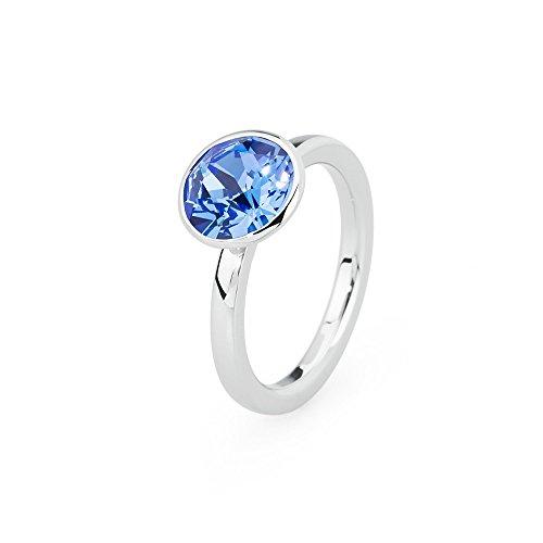 Brosway anello donna in acciaio bianco con cristallo blu, linea tring color edition, taglia 18, 5 grammi
