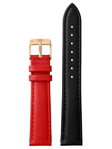 laVIIDA Uhrband LB-SVI2020R Ersatzband Uhrenarmband Leder 18 mm Schwarz-Rot-Rosé