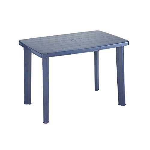Tisch Gartentisch Kunststoff blau & weiß 101 x 68 x 72 cm, Farbe:blau