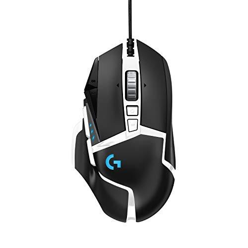Logitech G502 HERO Gaming Maus Special Edition, HERO 16000 DPI Sensor, RGB-Beleuchtung, Gewichtstuning, 11 Programmierbare Tasten, Benutzerdefinierte Spielprofile, PC/Mac - Schwarz/Weiß