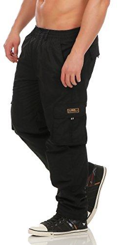 Fashion Herren Cargo Hose mit Dehnbund warm gefütterte Thermohose - mehrere Farben ID529, Größe:M;Farbe:Schwarz