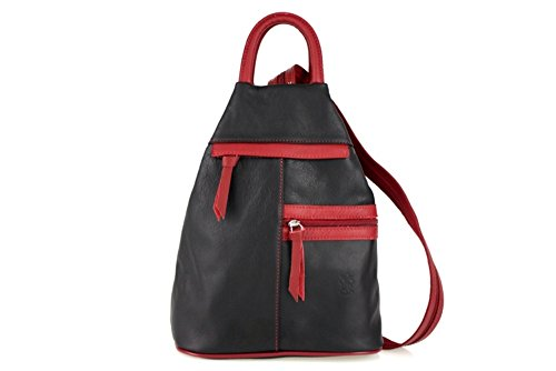 ZETA SHOES Damen Rucksack Damen Tasche Leder Daypack Backpacks MainApps Nero/Rosso