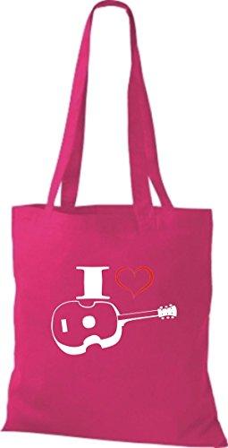 Shirtstown Stoffbeutel Musik I love Ukulele pink
