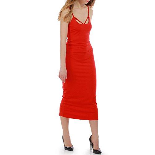La Modeuse - Robe longue moulante à bretelles Rouge