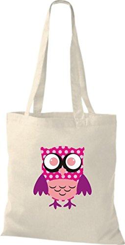 ShirtInStyle Jute Stoffbeutel Bunte Eule niedliche Tragetasche mit Punkte Karos streifen Owl Retro diverse Farbe, natur natur