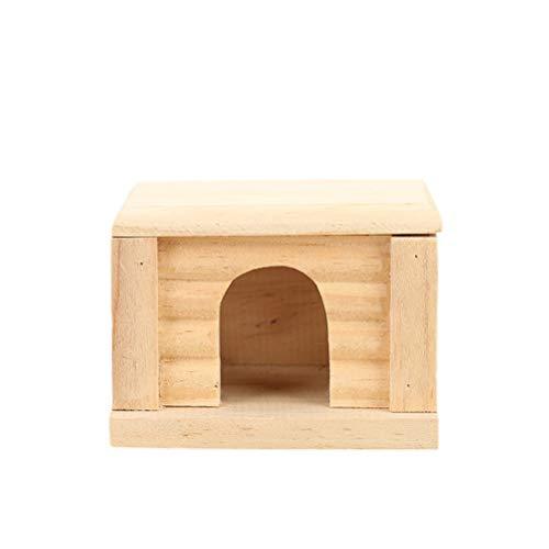 POPETPOP Natürliche hölzerne Kabine Hamster-Haus-Qualitäts-entzückende Haustier-Hütte kreativer Hamster Cabin Eco-Friendly RATT-Raum mit Flacher Oberseite -