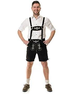 Almwerk Herren Trachten Lederhose Kniebund oder kurz Modell Almhirsch in schwarz oder braun