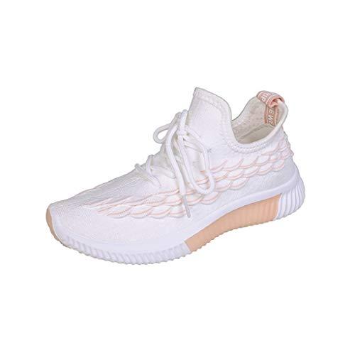Abvenc Scarpe da Ginnastica Corsa in Mesh Donna, Sneakers da Sportive con Suola Spessa e Abbinamento di Colore Fitness Leggero per All'aperto (Rosa, EU:38.5)