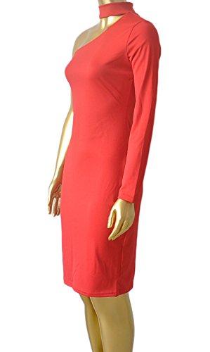 Damen Young Fashion Langärmel Figurformend mit Hals Ring Stretchy Halter One Schulter Design Abschlussball Kleid AbendKleid Schwarz