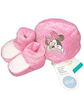 Set 2pz cappello cappellino scarpine ciniglia bimba neonato Ellepi Disney Baby Minnie rosa fucsia