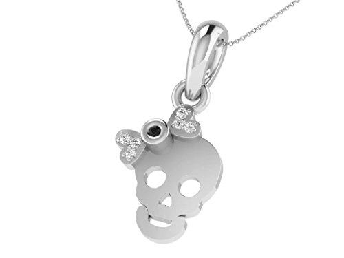 Or Blanc 9 ct Pendentifs Diamant en forme de Crâne, 0.05 Ct Diamant, GH-SI, 0.58 grammes.