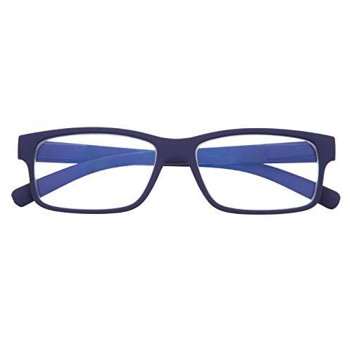 Gafas con Filtro Anti Luz Azul para Ordenador. Gafas de Presbicia o Lectura para Hombre y Mujer. Tacto Goma, Patillas Flexibles y Cristales Anti-reflejantes. Indigo +2.0 - THYSSEN