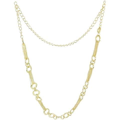 Las mujeres aro Multi Strand enlaces oro tono metal Cinch cintura cadena