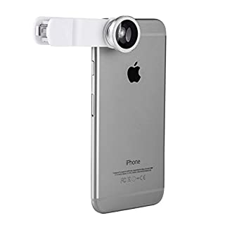 ANTFEES 3 in 1 180 ° fischaugenobjektiv + 0.67x weitwinkelobjektiv + mikro handy kamera objektiv - kit (weiße)