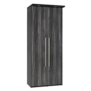 Argento Two Door Wardrobe in Black and High Gloss Black Walnut
