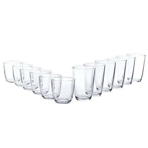Bormioli Gläser Set 'Iris' 12 teilig | Füllmenge 250 ml & 350 ml | Hochwertige Qualität für ein perfektes Trinkgefühl ohne scharfe Kanten - Iris Glas