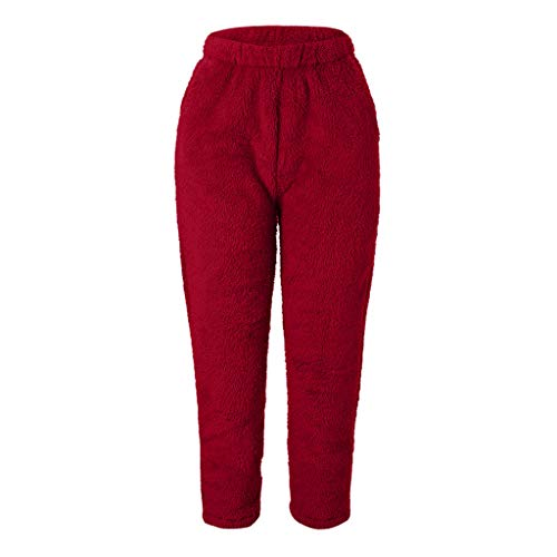 ➤Refill➤Frauen Fleece Jogger Jogginghose Kordeln Fuzzy Plüsch gefüttert elastische Taille Pyjamas Bottom Loose Tapered Pant Winter warme Lange Hosen