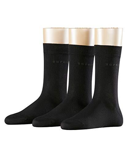 ESPRIT Damen Socken Uni 3-Pack, 80% Baumwolle, 3 Paar, Schwarz (Black 3000), Größe: 36-41