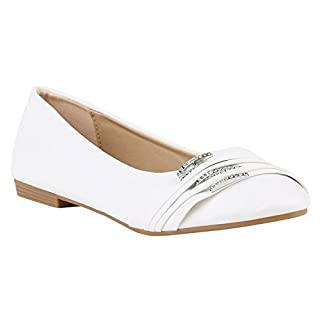 Stiefelparadies Klassische Damen Schuhe Ballerinas Slipper Flats Bequeme Ballerina Leder-Optik Übergrößen 142110 Weiss Strass Strass 40 Flandell