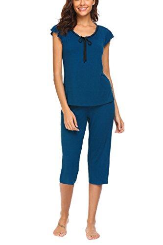 Unibelle pigiama due pezzi pigiami estivi donna collo a u vestaglia ragazza maniche corte con pantalocini blu m