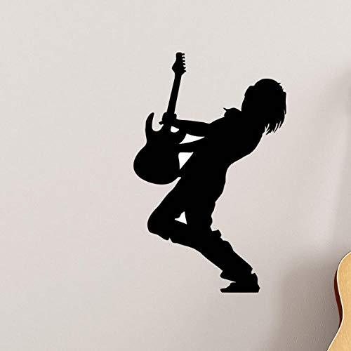 Wandaufkleber Musik Gitarrist Wandaufkleber Musikstil Silhouette Rockstar Dekoration Music Shop Abnehmbare Wandkunst Wandbild