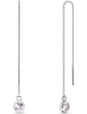 Swarovski Elements Ohrring Silber 925, lang hängend zum durchziehen, variable Länge, Swarovski Kristall rund
