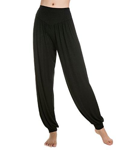 Baymate - Sarouels Pantalon Yoga Bouffant Modal pour Femme -Bloomer Elastique Extensible - Harem Pants Danse Pilates Sport Noir L