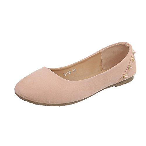 Ital-Design Klassische Ballerinas Damen-Schuhe Blockabsatz Moderne Altrosa, Gr 38, N-55-