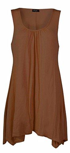 FK Styles Frauen Kleid Plus Größe Ärmellos Plain Viscose Jersey Swing (Jersey-kleid Weiches)