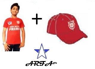 ARFA (Trade Mark) Combo - 1 KXIP (Kings XI Punjab) IPL T-Shirt & 1 KXIP Cap for 16 - 20 years boy or Girl by Aaina ARFA.