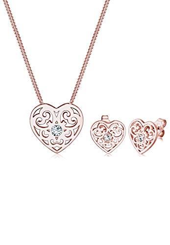 Elli  Damen-Schmuckset Halskette + Ohrringe Ornament Herz Vergoldet Kristall weiß Facettenschliff Kristall  - 0903661816_45 - 45cm Länge -